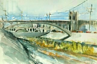 Daniel Clarke, 'Los Angeles River Scene', 2017, original Watercolor, 18 x 12  x 0.1 inches. Artwork description: 3495 The City of Angels was indeed a  River City  years ago. Then came the cement and flood protection. . . . . . . . . all grey. However in the past several years we ve become a river city again thanks to the power of Nature  Los Angeles River, California, River...