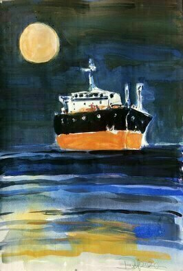 Daniel Clarke; Midnight Underweigh, 2020, Original Watercolor, 12 x 18 inches. Artwork description: 241 Underweigh the ship moves through the inky waters with the full moon to guide its way.   Watercolor on watercolor paper. ...