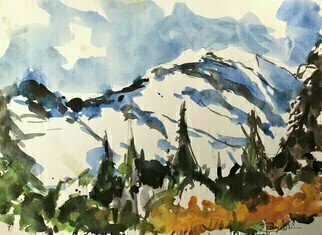 Daniel Clarke; Mt Rainier Snow, 2019, Original Watercolor, 15 x 11 inches. Artwork description: 241 Taunting, teasing, colors blending greatlyMounting grass with charming bold expressionsStanding, blending flowers are most statelyMorning glories boast in crowded sessionsWater trickles gathering loose earthTraveling at a slow speed from tall peakBirds sing gaily and gather for their mirthGloating for the ...