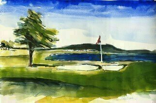 Daniel Clarke, 'Pebble Beach 18th Hole', 2020, original Watercolor, 22 x 15  x 0.1 inches. Artwork description: 1911 Combine a dramatic coastline and mystical forest with a rich history of world- class accommodations, warm hospitality, expert service and grand recreation. aEUR| ItaEURtms no wonder Pebble Beach Golf Course  has attracted extraordinary visitors throughout the history of Pebble Beach. From Samuel F. B. Morse to Clint ...
