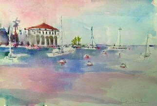 Daniel Clarke; Pink Sky Over Avalon, 2019, Original Watercolor, 18 x 12 inches. Artwork description: 241 If you see Catalina please w ld you tell herThat a second without her is a Thousand yearsIt may be a minute down but it seems too farEnough for a man to go pleading for prayersI tried writing her some sort of a ...