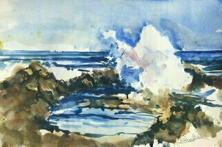 Daniel Clarke, 'Sand Surf Rocks Laguna', 2020, original Watercolor, 18 x 12  x 0.1 inches. Artwork description: 3495 Laguna Beach longingLaguna Beach, IaEURtmm longing forhighways that fade to sandy sidewalksand sunlight pouring down like golden rainin metallic hues of bronze and copperon skin softened by sea breeze and saltwaterwaves edged with lace- fine foamand artists who capture ...