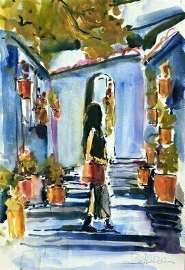Daniel Clarke; Shopping In Chaouen, 2020, Original Watercolor, 12 x 18 inches. Artwork description: 241 ItaEURtms a blue world in Chefchaouen, the small city of narrow, winding streets in the Riff mountains of northern Morocco. The blues here tell the story of the Jews who left Spain when in 1492 the monarchs, Isabel and Ferdinand, throwing off five hundred years of ...