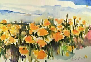 Daniel Clarke; Socal Poppies Last Call, 2019, Original Watercolor, 18 x 12 inches. Artwork description: 241 California PoppiesThey really are quite lovely you knowYou see them everywhereNot really for a vase in the houseIn that way they are not so easy to share.But plant them in your flower bedThey are even hearty in a patch of weeds...