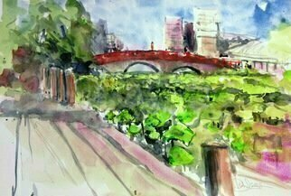 Daniel Clarke; spring lotus chofu japan, 2018, Original Watercolor, 18 x 12 inches. Artwork description: 241 In Chofu Japan the river Lotus are in bloom.   Our Lady in Red observes from the Shinto bridge.Lovely to see on a Spring Day ...
