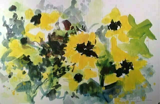 Daniel Clarke; Summer In The City, 2019, Original Watercolor, 18 x 12 inches. Artwork description: 241 Bury me in the Yellow FlowersAs my thoughtsdrift away.I pulled on a sunflower s petals To detect your love for me In the summer s sun is hotThe lying flower said you love meBut I know you love me notWatercolor on ...