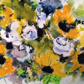 Daniel Clarke, , , Original Watercolor, size_width{sunflowers_white_roses-1554997175.jpg} X 12 inches