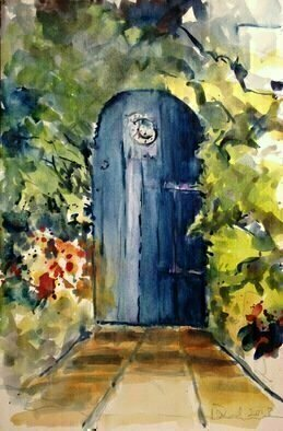Daniel Clarke, 'The Blue Door Heart', 2018, original Watercolor, 18 x 12  x 0.1 inches. Artwork description: 3099 The Blue Door to my HeartI stand at the doorway to the heart.The key my deep breath.Once inside energies ticklecausing a smile to rise on face.causing sensations warm to enter bloodstreams.I stand, ready to take off in dancewith my fellow ...