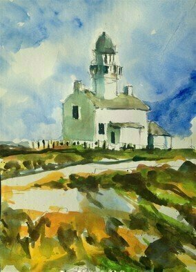 Daniel Clarke; The Lighthouse Of Cabrillo, 2019, Original Watercolor, 11 x 15 inches. Artwork description: 241 The Old Point Loma Lighthouse stood watch over the entrance to San Diego Bay for 36 years. At dusk on November 15, 1855, the light keeper climbed the winding stairs and lit the light for the first time. What seemed to be a good location 422 feet ...