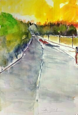 Daniel Clarke, 'The Pickup Early Evening', 2018, original Watercolor, 12 x 18  x 0.1 inches. Artwork description: 3495 ok, so this is the upswellof wheeling free without wheels- -you taste the unknown on the windand endless vigor vibrates in your bones.sidewalks, dumpsters, fields for beds,star- gaze drowsy thinkings, underfedbut overzealous of an openness we d never seen, we d never ...