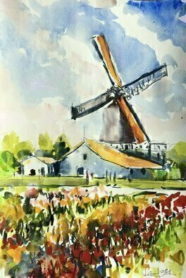 Daniel Clarke, 'Tulip Season', 2020, original Watercolor, 12 x 18  x 0.1 inches. Artwork description: 4683 Holland is famous for its struggle against water, for dikes, abundance of meadows, canals,windmills, wooden shoes and the tulips. Ask anyone  anywhere to name things that are definitely Dutch  and the answer is going to include tulip, windmill and wooden shoes,usually in that orderFor ...
