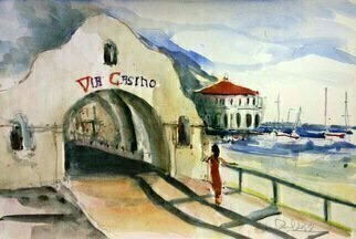 Daniel Clarke, 'Via Casino Late Afternoon', 2018, original Watercolor, 18 x 12  x 0.1 inches. Artwork description: 3495 Via CasinoIsland, I can see you - distant fine pearl.We drop harbor anchor, music greets us.Leis are given by a native grown girl.We walk ocean street not using road s bus.Hostel makes us welcomed showing no fuss.Time includes glass bottom boat and ...