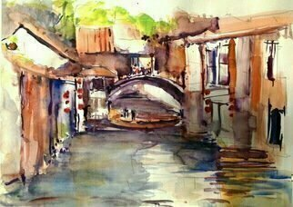 Daniel Clarke, 'Village Of Zhouzhuang China', 2016, original Watercolor, 20 x 15  inches. Artwork description: 3099 China water city watercolor landscape Citysearchcityscape china venice  ...