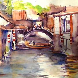 Daniel Clarke, , , Original Watercolor, size_width{village_of_zhouzhuang_china-1481315132.jpg} X 15 inches