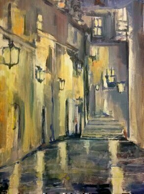 Daniel Clarke, 'Wet Evening Avignon', 2017, original Painting Acrylic, 12 x 16  x 0.5 inches. Artwork description: 3495 On a wet evening in Avignon France the glow of street lamps and reflections are most haunting to the eye.  As ancient this street is it still seems like yesterday ...