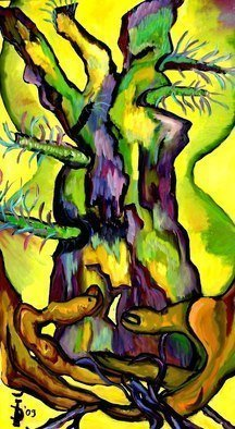 Daniela Isache; Hourglass, 2009, Original Painting Oil, 64 x 132 cm. Artwork description: 241               expressionist, composition, tree, hands               ...
