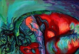 Daniela Isache; Metamorphosis, 2008, Original Painting Oil, 100 x 54 cm. Artwork description: 241   The expressionist view on the mythical story of Daphne                                     An expressionist image of the tight relationship between man and woman.                      ...