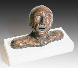 Dan Woodard; Anguished Man With Broken Nose, 2010, Original Sculpture Ceramic, 13.5 x 9.5 inches. Artwork description: 241 Sculptor Dan Woodards Anguished Man with a Broken Nose, is an evocativesculpture of a mans head.  A mold was made from the original ceramic sculpture and cast in Ultracal then covered with a bronze metal coating which received two coats of patina and finally three coats of ...