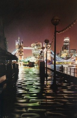 Darren Baker; London Night, 2018, Original Drawing Pencil, 7 x 10 inches. Artwork description: 241 Cityscape photorealism pastel drawing classical contemporary...