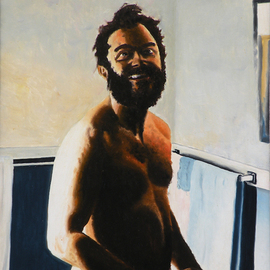 Dave Martsolf, , , Original Painting Oil, size_width{Close_Shave-1539213860.jpg} X 29 inches