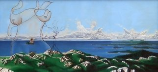 Dave Martsolf, 'Feminine Landscape', 1979, original Painting Oil, 60 x 28  inches. Artwork description: 2703 Dreams of the feminine at a coastal viewpoint. martsolf, surreal, surrealism, surrealistic, coast, ocean, figurative, woman, nude, landscape, sky...