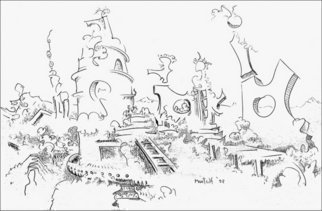 Dave Martsolf, 'Future Archaeological Find', 2002, original Drawing Pencil, 11.5 x 7.5  inches. Artwork description: 5475  Dreamy image of a future society already in ruins. Impermanence and mortality, but we never think it applies to our age. ...