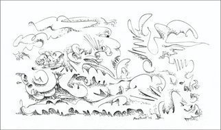Dave Martsolf, 'Jungle Attitude', 2002, original Drawing Pen, 8 x 4  inches. Artwork description: 5475  A jungle foliage motif with animistic imagery forming autonomically. Camoflage in the battle of life. ...