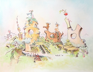 Dave Martsolf, Carnival Surrealism, 2009, Original Watercolor, size_width{Mountain_Retreat-1252852829.jpg} X 7.5 inches