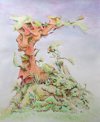Dave Martsolf, Carnival Surrealism, 2008, Original Watercolor, size_width{Mountainside-1278867778.jpg} X 10 inches