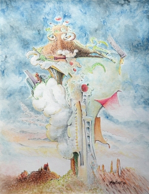 Dave Martsolf, Carnival Surrealism, 2010, Original Watercolor, size_width{Reflecting_on_Civilization-1292906318.jpg} X 10 inches