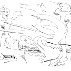 Dave Martsolf, , , Original Drawing Pen, size_width{Sketch_for_Civilization_Found_Intact-1458836428.jpg} X 5 inches