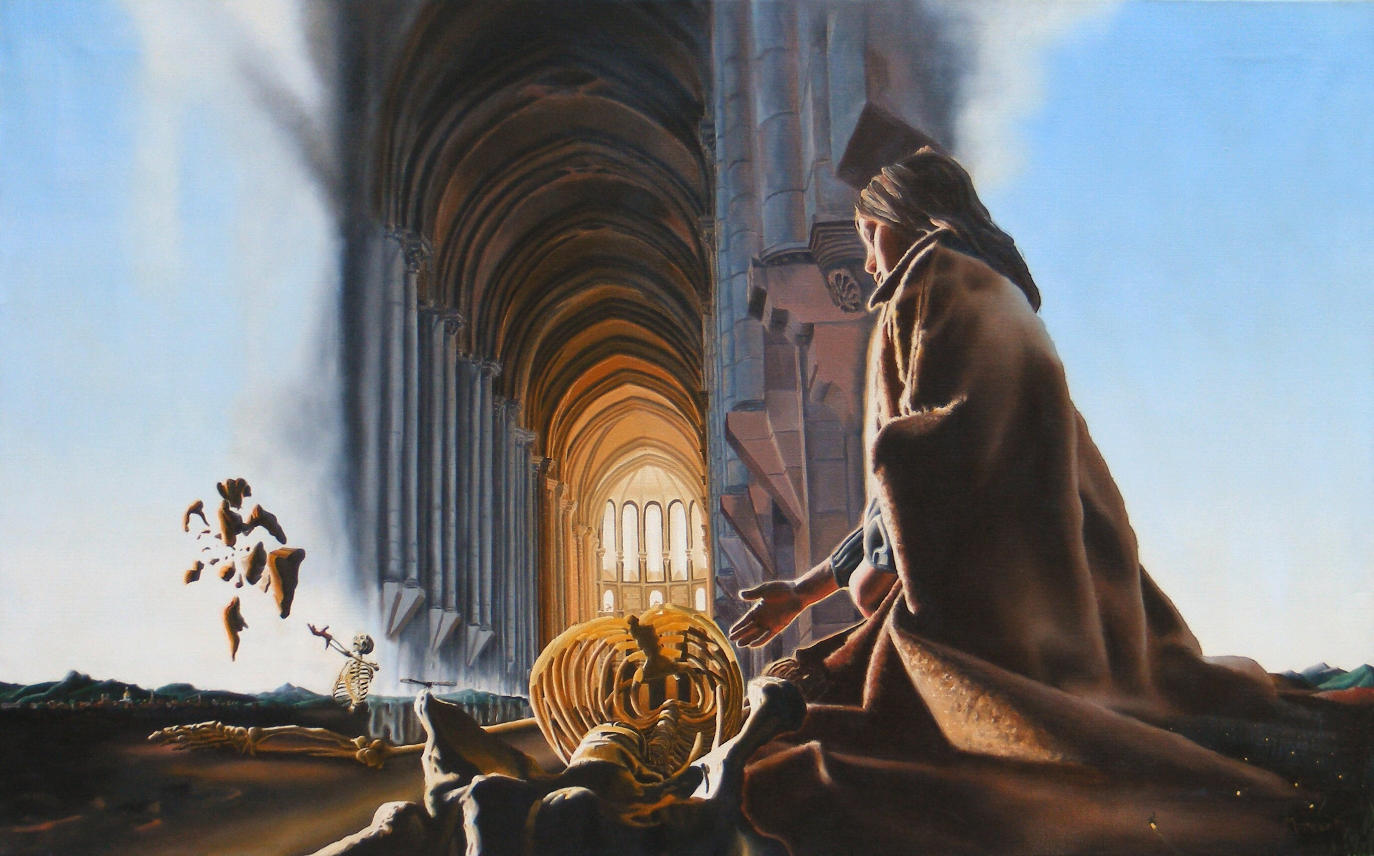 Dave Martsolf, Surreal Cathedral, 1979, Original Painting Oil,    inches