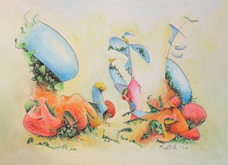 Dave Martsolf, Carnival Surrealism, 2010, Original Watercolor, size_width{Terrarium_Number_2-1283096050.jpg} X 7.5 inches