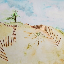 Dave Martsolf, , , Original Watercolor, size_width{dune_fences-1539201400.jpg} X 10 inches