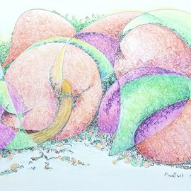 Dave Martsolf, , , Original Drawing Pencil, size_width{peaches_and_plums-1517427985.jpg} X 4.5 inches