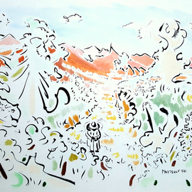 Dave Martsolf, , , Original Drawing Gouache, size_width{the_afternoon_walk-1539204281.jpg} X 10 inches