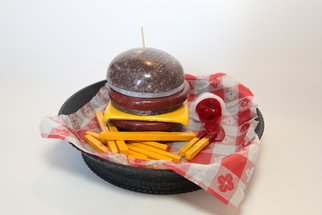 David Robertson; Super Size, 2019, Original Sculpture Stone, 10.1 x 7 inches. Artwork description: 241 A large cheeseburger and an order of fries...