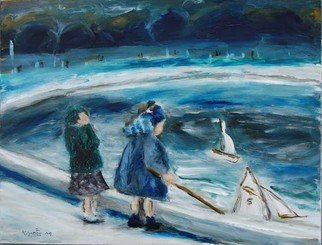 David Rocky Aguirre; 2 Girls 2 Boats, 2009, Original Painting Oil, 15.6 x 12 inches. Artwork description: 241  This image seems to be around the 50s in France.  In the slide, it looks like the girl on the left may just be adjusting her hat.  In the painting, it looks like she is holding her head because her boat is heading towards her friends boat....