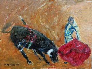 David Rocky Aguirre; Bull Fight, 2008, Original Painting Oil, 16 x 12 inches. Artwork description: 241  Oil on hardboard. Bullfight  ...