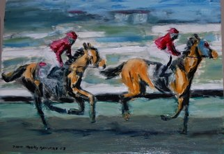 David Rocky Aguirre; Del Mar Horse Racing, 2008, Original Painting Oil, 16 x 12 inches. Artwork description: 241  Horse racing at Del Mar in California. Oil on hardboard. ...