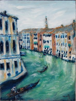 David Rocky Aguirre; Venice Waterway, 2008, Original Painting Oil, 12 x 16 inches. Artwork description: 241  Venice canal. oil on hardboard. ...