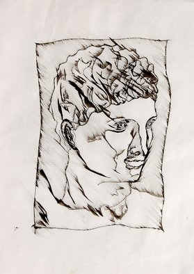 David Rocky Aguirre; Ink Statue1, 1997, Original Drawing Pen, 14 x 17 inches. Artwork description: 241   India ink drawing on paper.  ...