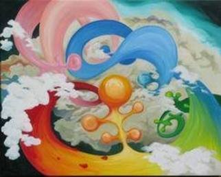 David Chang; Dancing Of Rainbow, 2006, Original Painting Acrylic, 30 x 24 inches.
