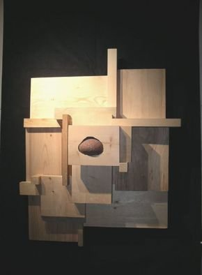 David Chang; Emergence, 2004, Original Sculpture Wood, 40 x 32 inches.