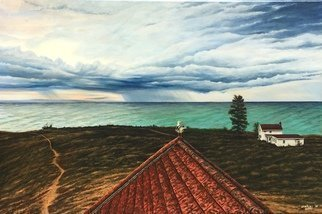 David Larkins; After The Squall, 2018, Original Painting Acrylic, 36 x 24 inches. Artwork description: 241 Our favorite place to be, Point Betsie located on Lake MichiganOn this summer day, a series of squalls rolled through while we were at the cottage.This scene that captured my imagination is looking out of the widows walk in the old coast guard station.The trail ...