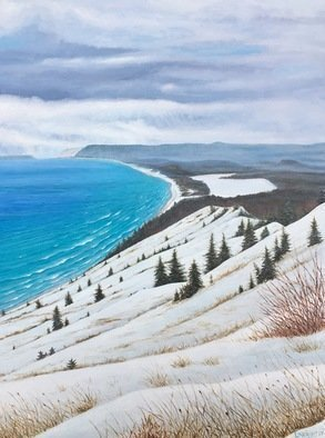 David Larkins; Empire Bluff Trail, 2017, Original Painting Acrylic, 18 x 24 inches. Artwork description: 241 One of our favorite hiking trails in Michigan.Reaching the trails end, we are awarded with this spectacular vista of the Sleeping Bear Dunes National Lakeshore It s always breathtaking in any season, but I wanted to capture it in winter, the aqua breen water contrasted against ...