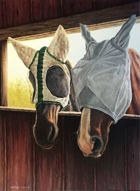 David Larkins; No Fly Zone, 2018, Original Painting Oil, 18 x 24 inches. Artwork description: 241 My wife LauraaEURtms adopted horses Wilbur and Abby looking inside the stable comical and an unusual scene for horses I saw this and had to paint it 	With their fly masks on they reminded of a bride and groom, horse style wedding  ...