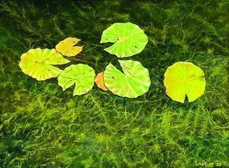 David Larkins; Pac Man Lily Pads, 2020, Original Painting Oil, 16 x 12 inches. Artwork description: 241 Lily pads floating in crystal clear Lake Hamlin located in Michigan projects a water abstraction. While painting the pads it became apparent to me that I was painting Pac- Man s  Yes, I have included eyes on every pad  ...