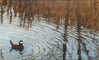 David Larkins; Ripples, 2017, Original Painting Acrylic, 50 x 30 inches. Artwork description: 241 aEURoeRipplesaEUR is a wonderful example showing my love for abstract realism.I added the Ruddy Duck to anchor the composition and show a source for the ripples in the water.Without the duck the painting becomes a pure abstraction. ...