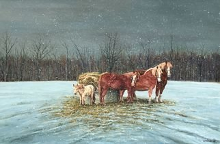 David Larkins; snowy evening, 2018, Original Painting Acrylic, 30 x 21 inches. Artwork description: 241 One of our favorite visits is to Calder Dairy Farm not far from where I live. The variety of animals on the farm is impressive, even the horses, from draft to minis are on the farm.I wanted to capture a specific time of year and day ...